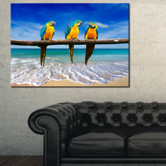 Designart Blue Gold Macaws At Beach Seashore Canvas Art Print