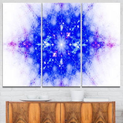 Designart Blue Illustration Pattern Abstract Canvas Art Print - 3 Panels