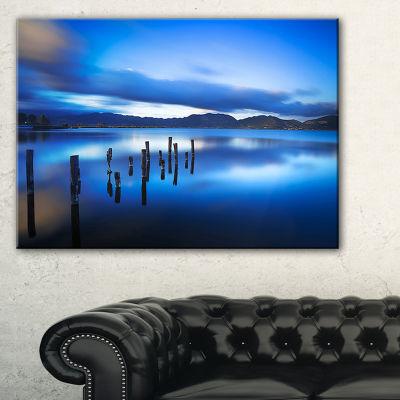 Designart Blue Lake Sunset With Pier Landscape Photography Canvas Print