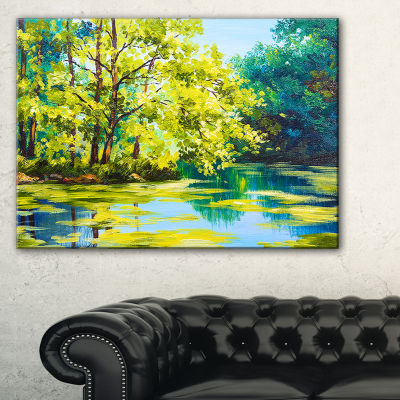Designart Blue Lake Under Green Tree Landscape Painting Canvas Print