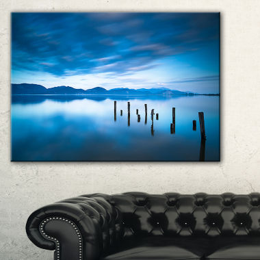 Designart Blue Lake With Wooden Pier Landscape Photography Canvas Print