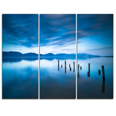 Designart Blue Lake With Wooden Pier Landscape Photography Canvas Print - 3 Panels