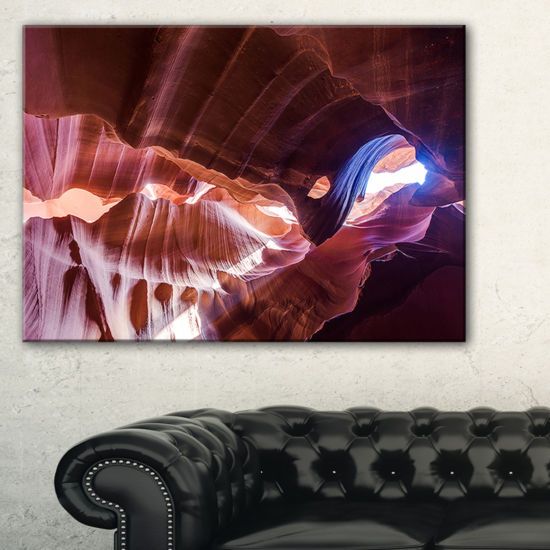Designart Blue Light In Antelope Canyon LandscapePhotography Canvas Print