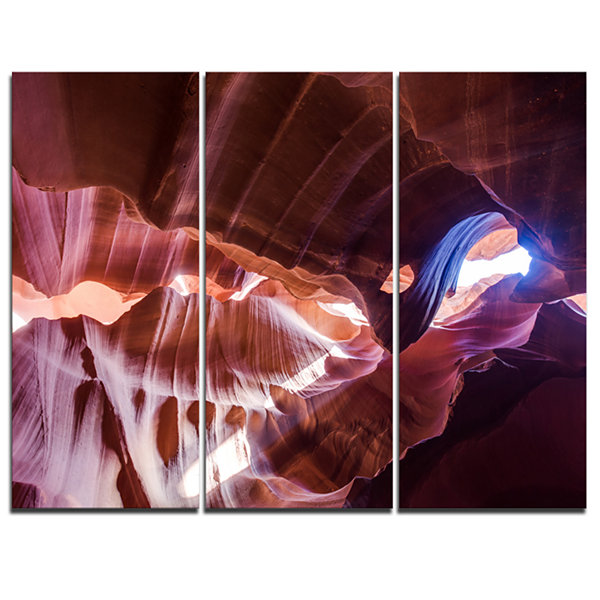 Designart Blue Light In Antelope Canyon LandscapePhotography Canvas Print - 3 Panels
