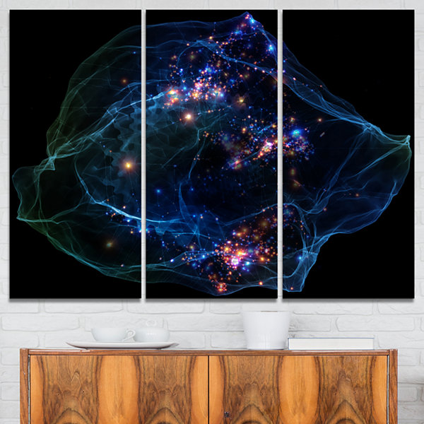 Designart Blue Lights Of Network Abstract CanvasArt Print - 3 Panels