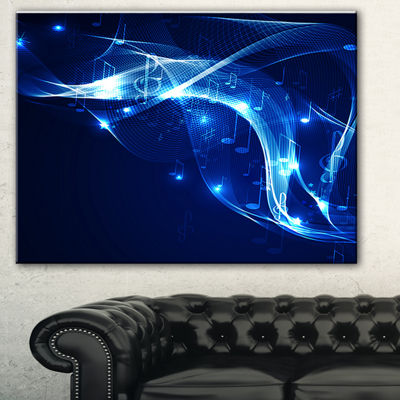 Designart Blue Musical Background Abstract CanvasArt Print - 3 Panels