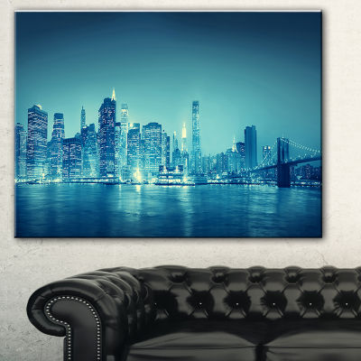 Designart Blue New York At Night Cityscape DigitalArt Canvas Print - 3 Panels