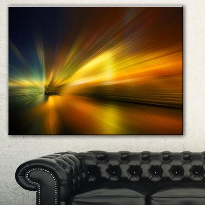 Designart Blue Over Gold Texture Abstract CanvasArt Print - 3 Panels