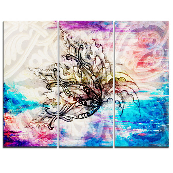 Design Art Blue Paper Flower And Flame Floral ArtCanvas Print - 3 Panels