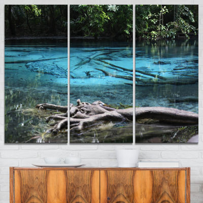 Designart Blue Pond In Deep Forest Landscape Photography Canvas Print - 3 Panels