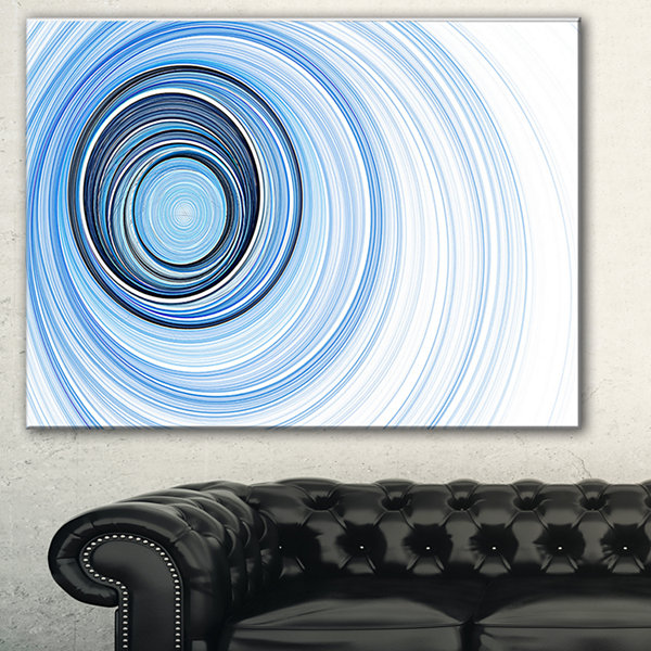 Designart Blue Radio Waves Abstract Canvas Art Print