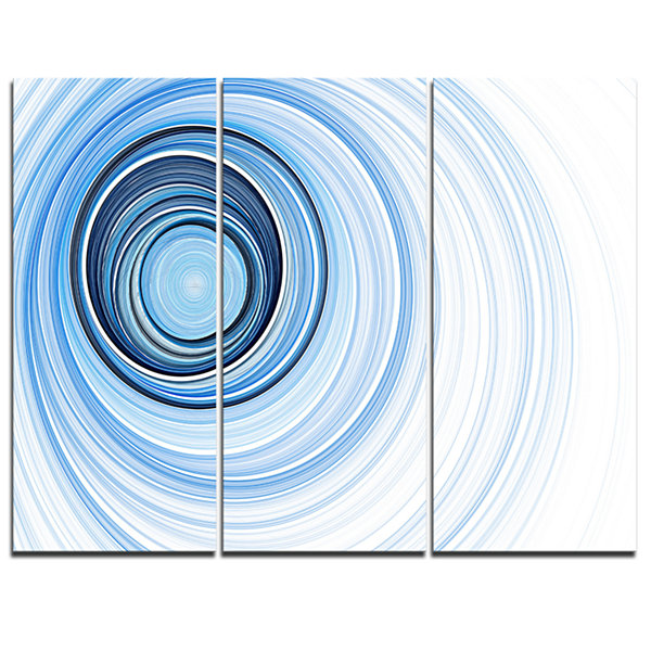 Design Art Blue Radio Waves Abstract Canvas Art Print - 3 Panels
