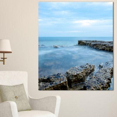 Design Art Blue Rocky Seashore Beach Photography Canvas Art Print - 3 Panels