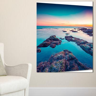 Designart Blue Sicily Island Seascape PhotographyCanvas Art Print - 3 Panels