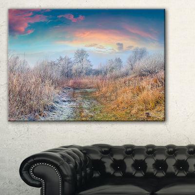 Designart Blue Sky In Autumn Morning Landscape Photo Canvas Art Print