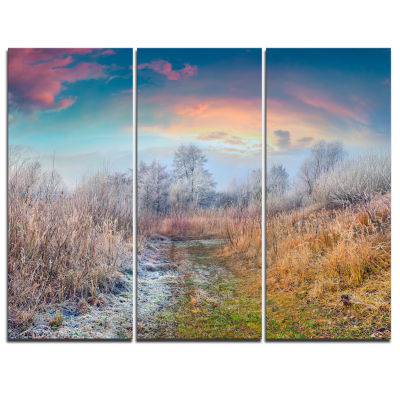Designart Blue Sky In Autumn Morning Landscape Photo Canvas Art Print - 3 Panels
