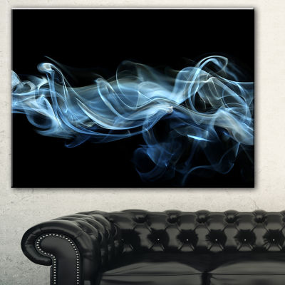 Designart Blue Smoke In Black Abstract Canvas ArtPrint - 3 Panels
