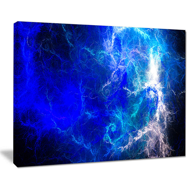 Designart Blue Sparkling Lightning Abstract CanvasArt Print