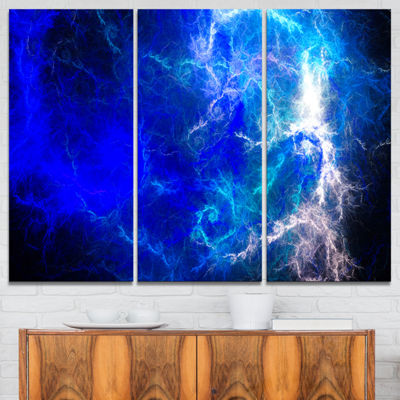 Designart Blue Sparkling Lightning Abstract CanvasArt Print - 3 Panels