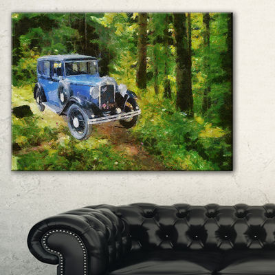 Designart Blue Vintage Car Oil Painting Car CanvasArt Print - 3 Panels