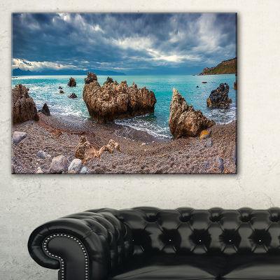 Designart Blue Volcanic Beach Seashore PhotographyCanvas Print - 3 Panels