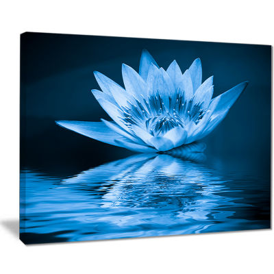 Designart Blue Water Lily Floral Art Canvas Print