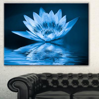 Designart Blue Water Lily Floral Art Canvas Print-3 Panels