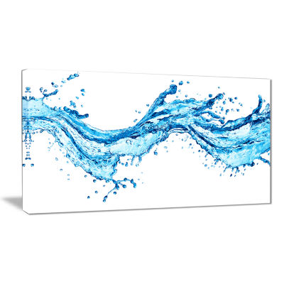 Designart Blue Water Splashes Abstract Canvas ArtPrint