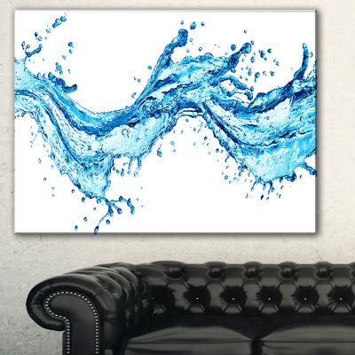 Designart Blue Water Splashes Abstract Canvas ArtPrint - 3 Panels