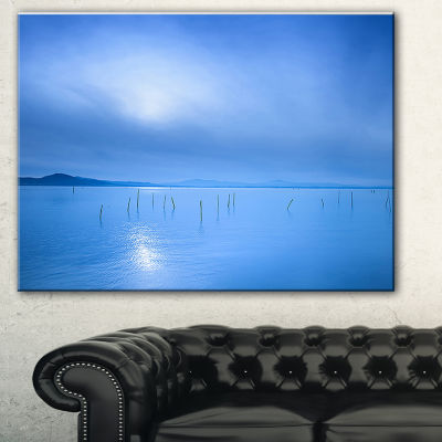 Designart Blue Water Surface In Morning SeascapeCanvas Art Print