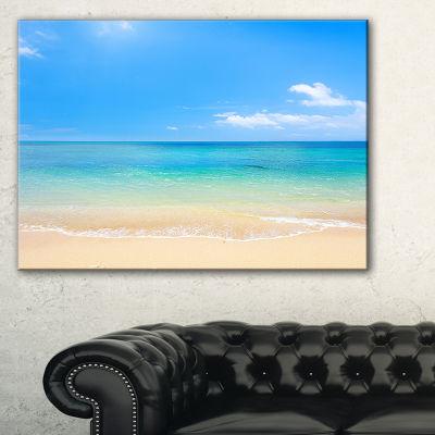 Designart Blue Waters Below Blue Sky Seashore Photo Canvas Print - 3 Panels