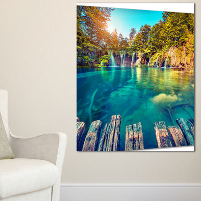 Designart Blue Waters In Plitvice Lakes LandscapePhoto Canvas Art Print - 3 Panels