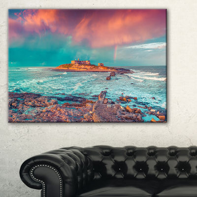 Designart Blue Waters In Spring Seascape Photography Canvas Art Print - 3 Panels