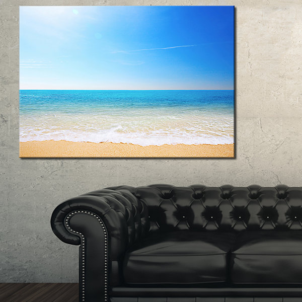 Designart Blue Waves At Tropical Beach Seashore Photo Canvas Print - 3 Panels