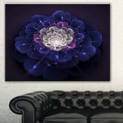 Designart Blue White Fractal Flowers Floral Art Canvas Print - 3 Panels