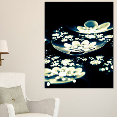 Designart Blue White Fractal Flowers In Dark Floral Canvas Art Print - 3 Panels