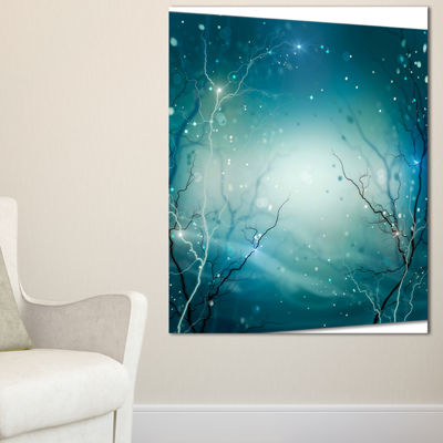 Designart Blue Winter Fantasy Forest Landscape Photo Canvas Art Print - 3 Panels