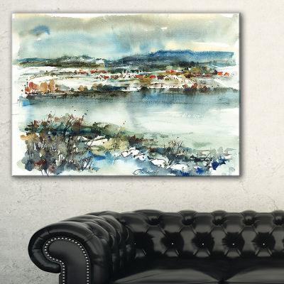 Designart Blue Winter Lake Watercolor Landscape Painting Canvas Print