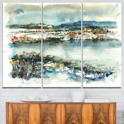 Designart Blue Winter Lake Watercolor Landscape Painting Canvas Print - 3 Panels