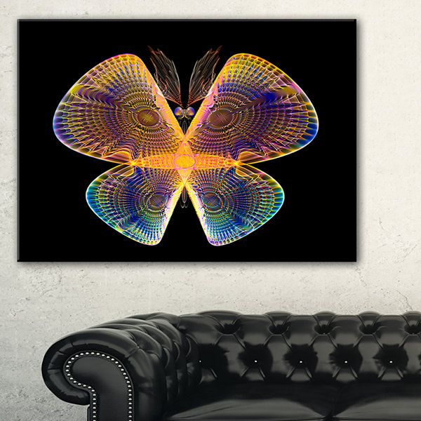 Designart Blue Yellow Fractal Butterfly In Dark Abstract Canvas Art Print