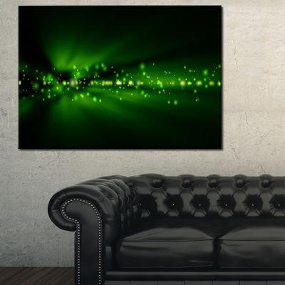 Design Art Blurred Bright Green Lights Landscape Photo Canvas Art Print