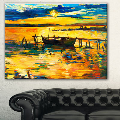 Designart Boat And Pier In Yellow Shade Seascape Canvas Art Print