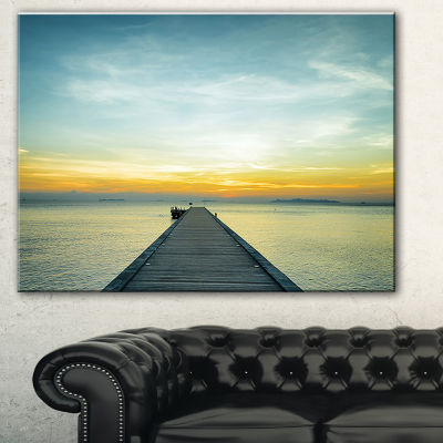 Designart Boat Pier At Sunset Seascape PhotographyCanvas Art Print