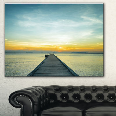 Designart Boat Pier At Sunset Seascape PhotographyCanvas Art Print - 3 Panels