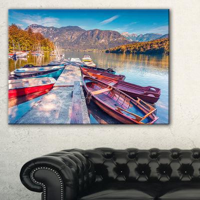 Designart Bohinj Lake In Morning Landscape PhotoCanvas Art Print - 3 Panels
