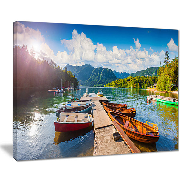 Designart Bohinj Lake Sunny Morning Landscape Photography Canvas Print