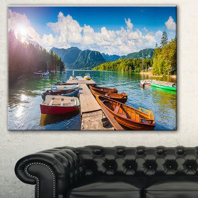 Designart Bohinj Lake Sunny Morning Landscape Photography Canvas Print - 3 Panels