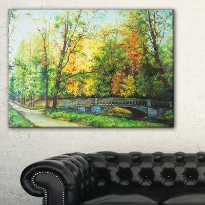 Designart Bridge In Colorful Forest Landscape Painting Canvas Print - 3 Panels