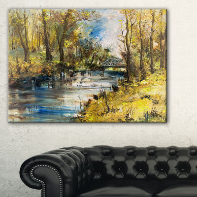 Designart Bridge Over River Oil Painting LandscapePainting Canvas Print - 3 Panels