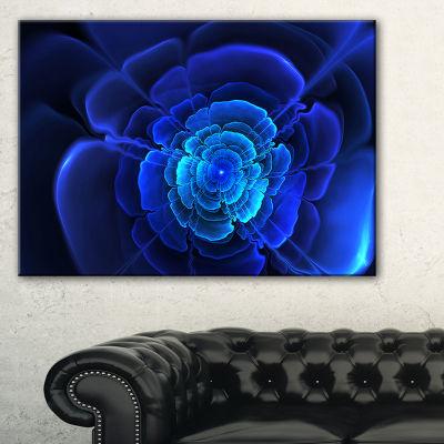 Designart Bright Blue Fractal Flower In Dark Floral Canvas Art Print